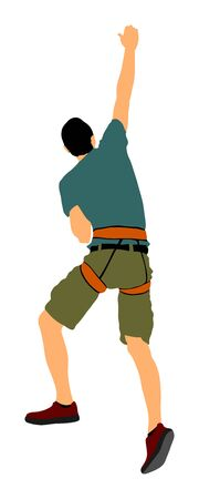 Extreme sportsman climbs without rope. Man climbing vector illustration, isolated on background. Sport weekend action in adventure park. Rock wall for fun. Tough and healthy discipline. Climbers skills Stock Illustratie