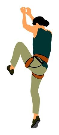 Extreme sports girl climbs without rope. Woman climbing vector illustration isolated. Sport weekend action in adventure park. Rock wall for fun. Tough and healthy discipline.  Climbers skills. Workout.