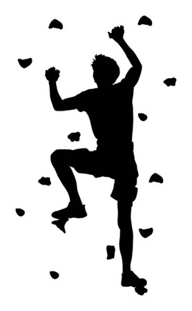 Extreme sportsman climb without rope. Man climbing vector silhouette illustration, isolated on background. Sport weekend action in adventure park. Rock wall for fun. Tough and healthy discipline. Vector Illustration