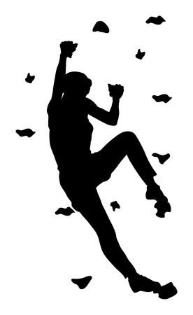 Extreme sports girl climb without roop. Woman climbing vector silhouette illustration, isolated on background. Sport weekend action in adventure park. Rock wall for fun. Tough and healthy discipline.