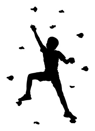 Extreme sports boy climb without roop. Child climbing vector silhouette illustration, isolated on background. Sport weekend action in adventure park. Rock wall for fun. Tough and healthy discipline. Ilustrace