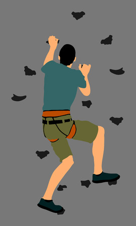 Extreme sportsman climb without roop. Man climbing vector silhouette illustration, isolated on background. Sport weekend action in adventure park. Rock wall for fun. Tough and healthy discipline.