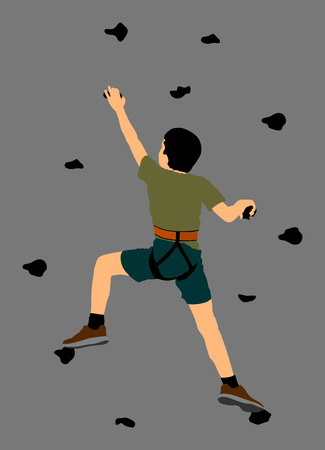 Extreme sportsman climb without roop. Boy climbing vector silhouette illustration, isolated on background. Sport weekend action in adventure park. Rock wall for fun. Tough and healthy discipline.