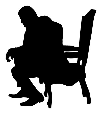 Confident leader, big mafia boss. Businessman sitting on work vector silhouette illustration. Manager on meeting. man in suite. Overweight person sitting and resting. Illustration