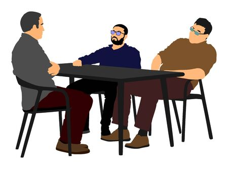 Potential worker in a job interview vector. Business people sitting and talking about new idea. IT partners meeting. Break relaxation after work in restaurant. Desk and chairs. Interrogation in police