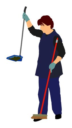 Housemaid cleaner vector illustration Isolated over white background. Floor care and cleaning services with washing mop in sterile factory or clean hospital. Cleaning lady. Housework job. House wife. Ilustracja