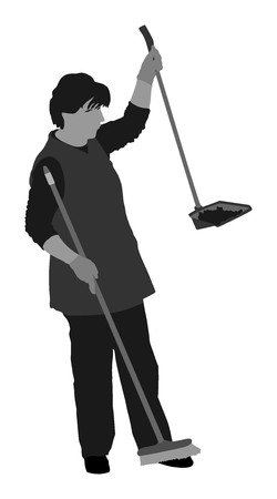 Housemaid cleaner vector silhouette illustration Isolated over white background. Floor care and cleaning services with washing mop in sterile factory or clean hospital. Cleaning lady. Ilustracja