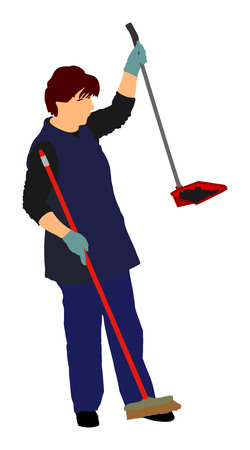 Housemaid cleaner vector illustration Isolated over white background. Floor care and cleaning services with washing mop in sterile factory or clean hospital. Cleaning lady.