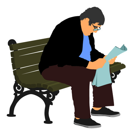 Senior, mature man sitting on a bench in park vector illustration. Grandfather outdoor relaxing. Gentleman with glasses sitting on a wooden chair and reading a newspaper in a park. Pensioner time.