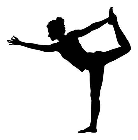 Woman exercises yoga, Yoga pose vector silhouette isolated on white background. Young woman morning practice in gym. Ballet girl pose. Physical Education. In healthy body healthy mind. Векторная Иллюстрация
