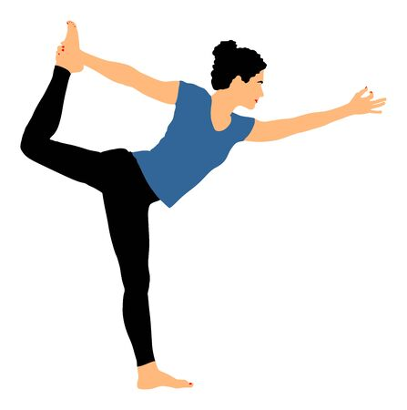 Woman exercises yoga, Yoga pose vector illustration isolated on white background. Young woman morning practice in gym. Ballet girl pose. Physical Education. In healthy body healthy mind. Illustration