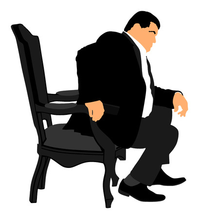 Confident leader, big mafia boss. Businessman sitting on work vector illustration. Manager on meeting. man in suite. Overweight person sitting and resting. Vectores