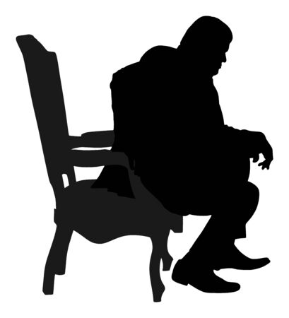 Confident leader, big mafia boss. Businessman sitting in chair in office vector silhouette. Manager on meeting. man in suite. Overweight person sitting and resting. Director on duty. Politician man. Ilustracja