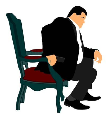 Confident leader, big mafia boss. Businessman sitting in chair in office vector illustration. Manager on meeting. man in suite. Overweight person sitting and resting. Director on duty. Politician man. Ilustracja