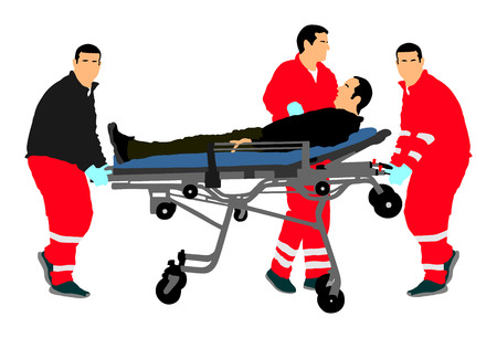 First aid training, help after crash accident transport injured person. Paramedics evacuate injured person. Checking and helping people after body collapse. Health care protection. Lifeguard action. Stock Illustratie