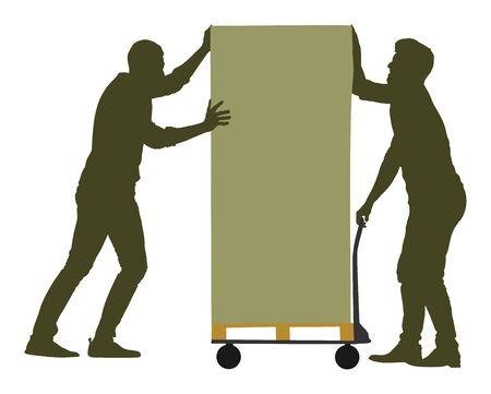 Grandi lavoratori che spingono la carriola e portano la siluetta di vettore della grande scatola isolata su bianco. Pacchetto in movimento uomo di consegna dal carrello. Servizio di trasporto in movimento. Attività di lavoro di magazzino. Saccheggiando gli ufficiali giudiziari