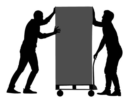 Hard workers pushing wheelbarrow and carry big box vector silhouette isolated on white. Delivery man moving package by cart. Service moving transport. Warehouse job activity.  Looting bailiff laborers Illusztráció