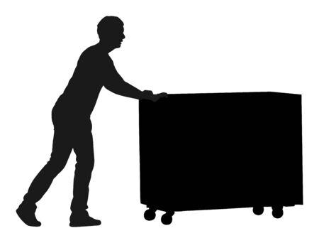 Lavoratore duro che spinge la carriola e trasporta l'illustrazione della siluetta di vettore della grande scatola isolata su fondo bianco. Pacchetto in movimento uomo di consegna dal carrello. Servizio di trasporto in movimento. Attività di lavoro di magazzino.