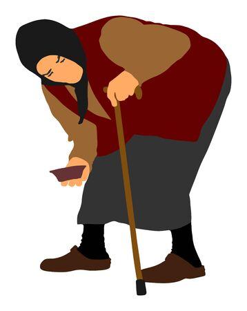 Mendicante senzatetto su un'illustrazione vettoriale di strada. Persona anziana che elemosina cibo o aiuto. Anziana disabile con le stampelle che elemosina i soldi La nonna indifesa implora pietà. Scena sociale forte.