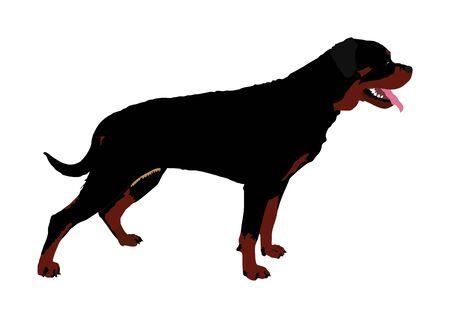 German military guardian dog rottweiler portrait vector. Dog for detecting smuggling drugs. Beware of purebred dog. Dog show champion. Best friend. Alert, guard attention.