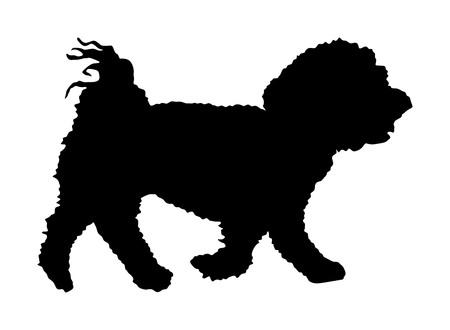 Ilustración de silueta de vector de cachorro de perro maltés aislado sobre fondo blanco.