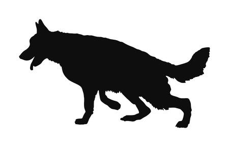 Portrait of German Shepherd dog  silhouette illustration isolated.