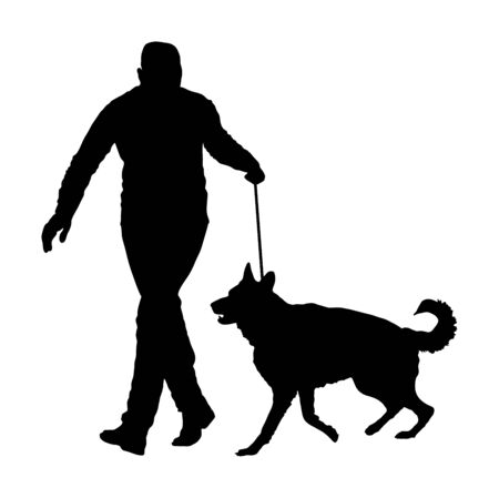 Owner keeps dog on the leash. German Shepherd running, champion dog vector silhouette. Dog show exhibition. Finder detect explosives and drugs. Rescue activity dog for finding survive. Pet friendly.