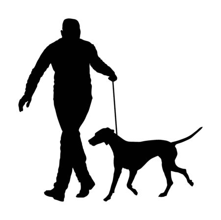 Owner man keeps dalmatian dog on the leash silhouette. Boy running champion dog on stage vector isolated. Dog show exhibition. Relax time after work with pet. Best friend. Alert, guard attention. Kids lover.