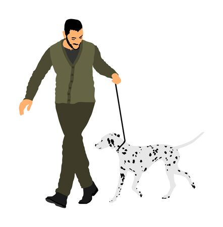 Owner man keeps dalmatian dog on the leash. Boy running champion dog on stage vector isolated. Dog show exhibition. Relax time after work with pet. Best friend. Alert, guard attention. Kids lover. Illustration