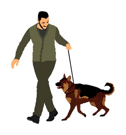 Owner keeps dog on the leash. German Shepherd running, champion dog vector illustration. Dog show exhibition. Finder detect explosives and drugs. Rescue activity dog for finding survive. Pet friendly.