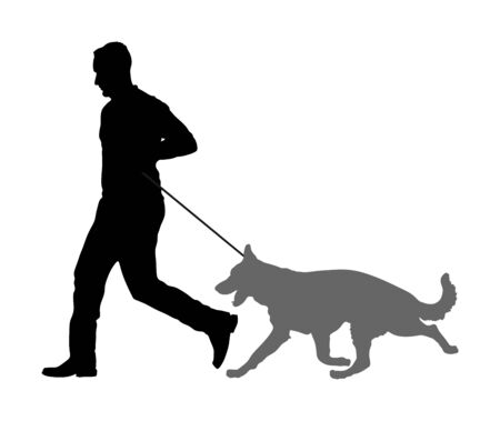 Owner keeps the dog on the leash. German Shepherd running, champion dog vector silhouette illustration. Dog show exhibition. Finder detect explosives and drugs. Rescue activity dog for finding survive Çizim
