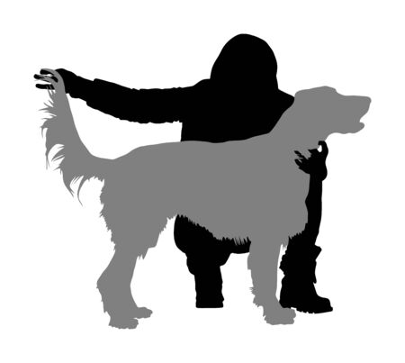 Owner girl keeps the Golden Retriever dog on the stage silhouette. Irish red Setter champion vector silhouette illustration isolated. Dog show exhibition.