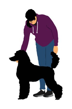 Owner girl keeps royal French Poodle dog champion on the stage vector illustration isolated. Dog exhibition show.