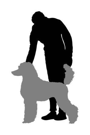 Owner girl keeps royal French Poodle dog champion on the stage vector silhouette isolated. Dog exhibition show. Stock Vector - 129239595