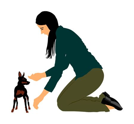 Owner woman trainer keeps miniature Pincher dog. Girl dresser with Manchester terrier champion dog on the stage vector illustration. Dog show exhibition. Small pincher. Girl and pet puppy.