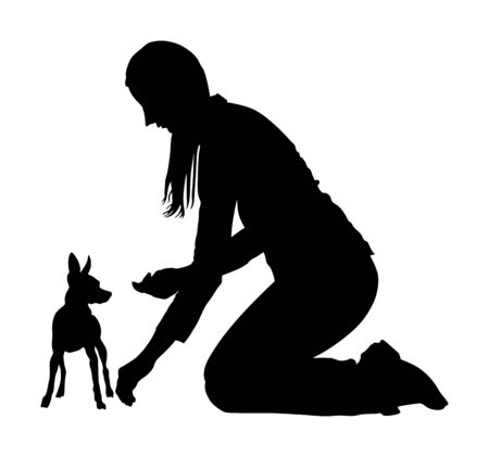 Owner woman trainer keeps miniature Pincher dog silhouette. Girl dresser with Manchester terrier champion dog on the stage vector silhouette. Dog show exhibition. Small pincher silhouette. Girl and pet puppy.