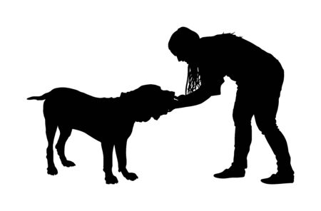 Owner woman keeps English Mastiff dog silhouette. Girl cuddle and cheesy Naples mastiff champion dog on stage vector isolated. Dog show exhibition. Relax time after work with pet. Best friend. Alert guard.