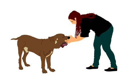 Owner woman keeps English Mastiff dog. Girl cuddle and cheesy Naples mastiff champion dog on stage vector isolated. Dog show exhibition. Relax time after work with pet. Best friend. Alert guard.