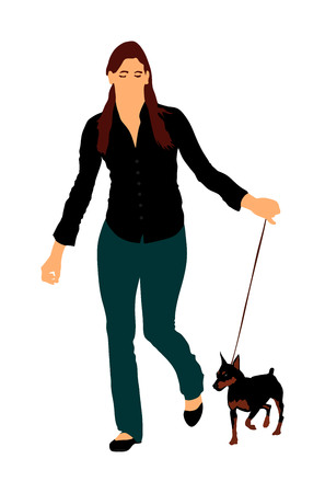 Owner woman keeps miniature Pincher dog on the leash. Girl running with Manchester terrier champion dog on the stage vector illustration isolated. Dog show exhibition. Small pincher.