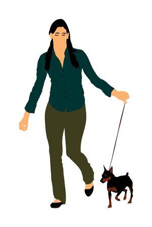 La proprietaria tiene al guinzaglio il cane Pincher in miniatura. Ragazza che corre con il cane campione del Manchester terrier sul palco vettore isolato. Esposizione canina. Pinza piccola. Rilassati dopo il lavoro con l'animale domestico. Vettoriali