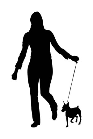 Owner woman keeps miniature Pincher dog on the leash silhouette. Girl running with Manchester terrier champion dog on stage vector isolated. Dog show exhibition. Small pincher. Relax time after work with pet.
