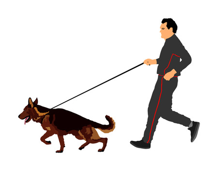 Owner keeps the dog on the leash. German Shepherd running, champion dog vector illustration. Dog show exhibition. Finder detect explosives and drugs. Rescue activity dog for finding survive Stock Vector - 100047622