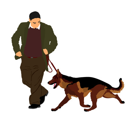 Owner keeps the dog on the leash. German Shepherd running, champion dog vector illustration. Dog show exhibition. Finder detect explosives and drugs. Rescue activity dog for finding survive