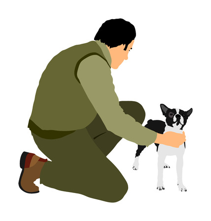 Owner keeps the dog on the stage. Boston Terrier champion vector illustration isolated. Dog show exhibition.