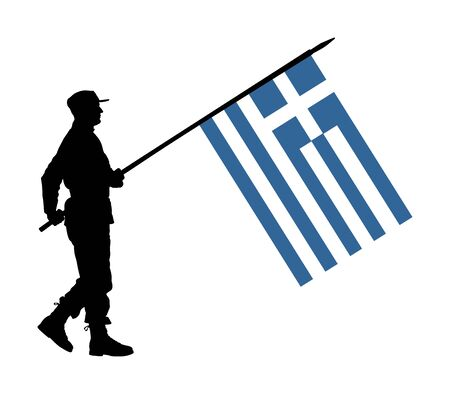Greek soldier with flag vector silhouette illustration. Ceremonial day of independence. Memorial army saluting, national veteran day. Battle for freedom ceremony. Military walk for Greece liberty.