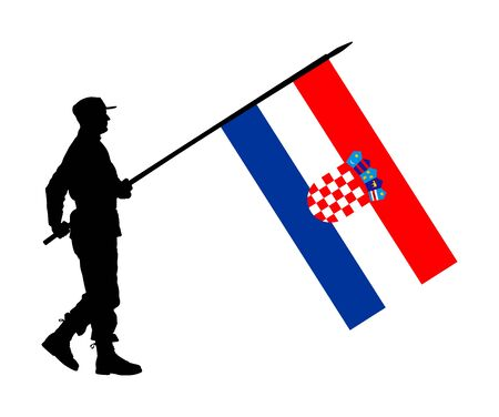 Croatian soldier with flag vector silhouette illustration. Ceremonial day of independence. Memorial army saluting, national veteran day. Battle for freedom ceremony. Military walk for Croatia liberty. Ilustracja
