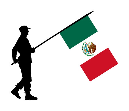 Mexico soldier with national  flag of Mexico vector silhouette. Ceremonial day of independence. Memorial army saluting, national veteran day. Battle for freedom ceremony. Military walk for liberty.