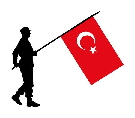 Turkey soldier with flag vector silhouette illustration. Ceremonial day of independence. Memorial army saluting, national veteran day. Battle for freedom ceremony. Military walk for Turkey liberty.