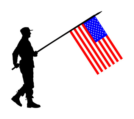 United States of America soldier with flag