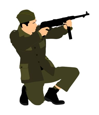 Red army soldier with rifle vector. Partisan against Germany in WW2. Fierce struggle in occupied Europe. Soviet troops against aggressors in battle. Second World war fighter.
